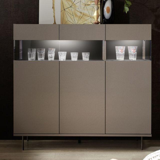 Kasalinea Buffet haut avec Led design taupe Palermo 7