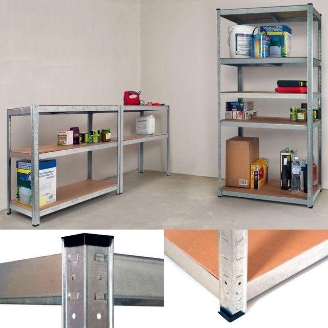 IDMARKET - Étagère modulable charges lourdes en métal 5 plateaux