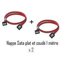 Cabling - Pack 2 x Nappe câble sata sata rouge coudé droit