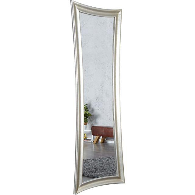 Comforium Miroir mural 180 cm en bois et verre coloris argent