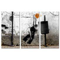 Declina - Tableau triptyque basketteur sur toile imprimée - Déco street art