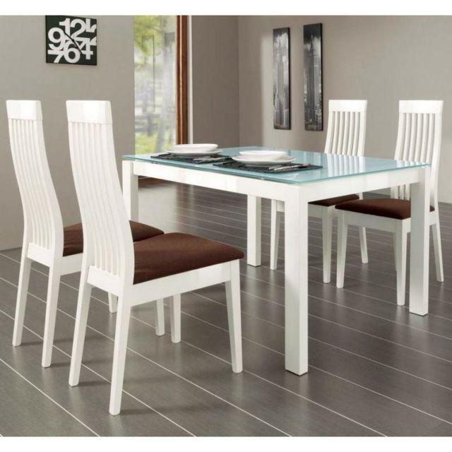 Inside 75 Table repas extensible Baron 130x85 en verre piétement métal laqué blanc