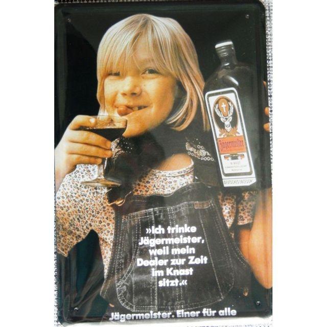 ebc83362bf11 Universel Plaque jagermeister avec enfant qui tiens une bouteille tole