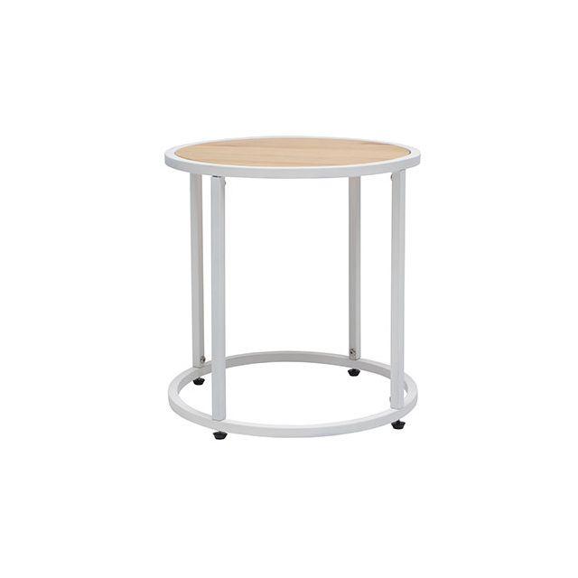 Table basse ronde en pin et métal blanc