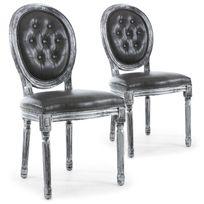 MENZZO - Lot de 2 chaises de style médaillon Louis XVI Bois noir patiné argent & Simili capitonné gris
