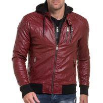 BLZ Jeans - Blouson homme aviateur rouge effet cuir à capuche