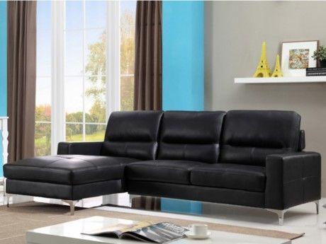 VENTE-UNIQUE Canapé d'angle en cuir FLYNN - Noir - Angle gauche