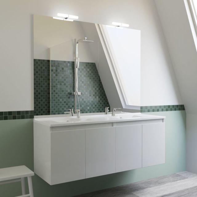 CREAZUR - Meuble salle de bain double vasque PROLINE 140 - Blanc ...