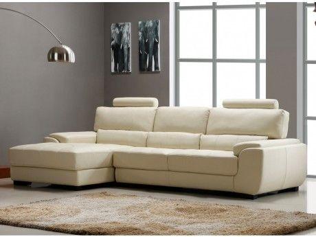 Vente-unique Canapé d'angle en cuir Metropolitan Ii - Blanc ivoire - Angle gauche