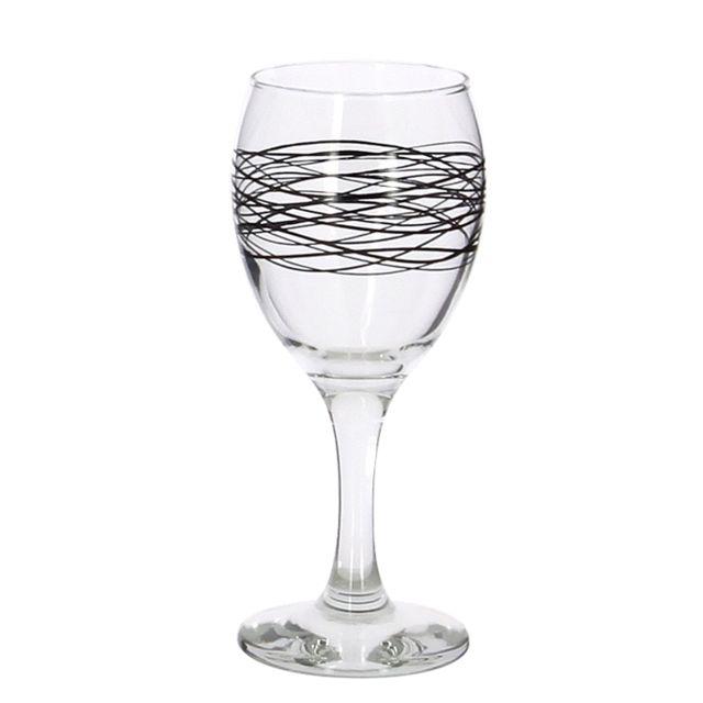 Reception Lot 6 Verres A Pied Vin 20.5CL Serpentin Noir