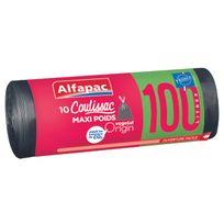 ALFAPAC - COULISSAC - 10 sacs poubelle - Maxi poids - 100L - MPCXV10010OF
