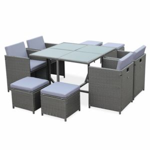 alice 39 s garden cubo 8 gris 8 places pas cher achat vente ensembles tables et chaises. Black Bedroom Furniture Sets. Home Design Ideas