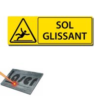 """Mygoodprice - Plaque gravée autocollante 30x10 cm """"Sol glissant"""" fond jaune"""