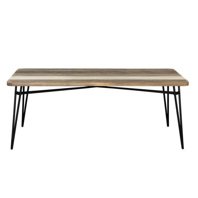 Macabane table manger marron 10 personnes 200cm x 77cm x 100cm non extensible pas for Carrefour table a manger