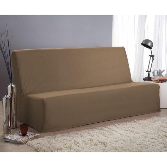 terre de nuit housse de clic clac taupe 140x190 pas cher achat vente housses canap s. Black Bedroom Furniture Sets. Home Design Ideas