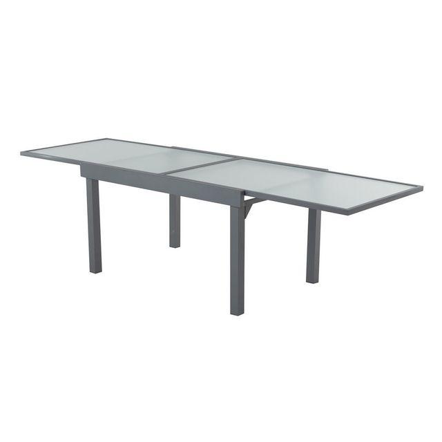 Dlm - Table de jardin extensible en aluminium et verre longueur 137 ...