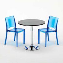 Grand Soleil - Table carré et Ronde avec 2 chaises colo