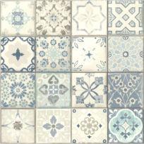 Vinyl effet papier peint carreau ciment bleu 235 g/m²