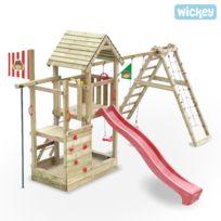 Wickey - Aire de jeux bois avec glissiere Fire Station