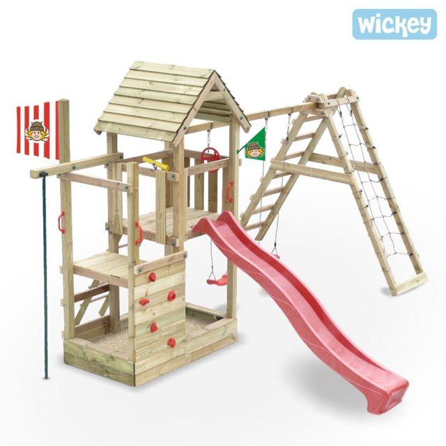 b084604bae19d Wickey - Aire de jeux bois avec glissiere Fire Station - pas cher Achat   Vente  Aire de jeux - RueDuCommerce