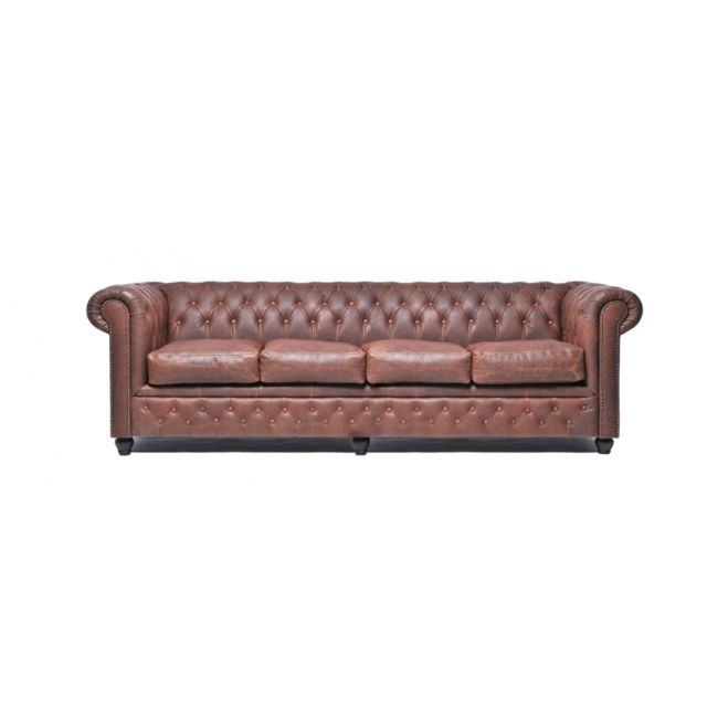 CHESTERFIELD Vintage 4 places Brun