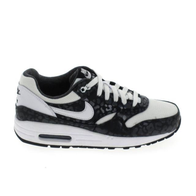cheaper 4ade4 fdb88 Nike - Air Max 1 Print Jr Blanc Noir - pas cher Achat   Vente Baskets enfant  - RueDuCommerce