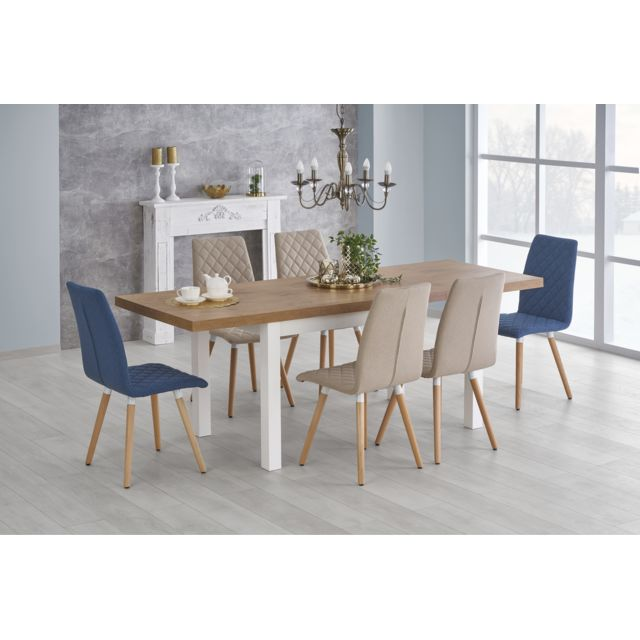 Carellia Table à manger extensible 140÷220 cm x 80 cm x 75 cm
