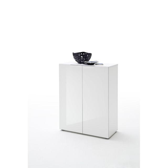 Pegane Commode avec 2 portes coloris laqué blanc brillant - L80 x H101 x P39 cm
