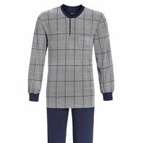 Ringella - Pyjama long forme jogging en coton : tee-shirt col tunisien gris à tirets bleu marine et carreaux bordeaux, pantalon bleu marine
