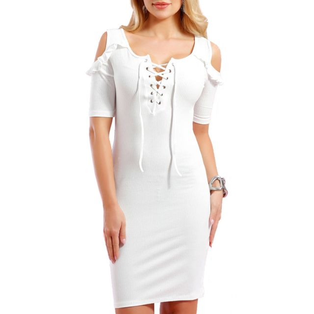 3720a8c1bde Infinie Passion - Robe moulante blanche 00W026946 - pas cher Achat ...