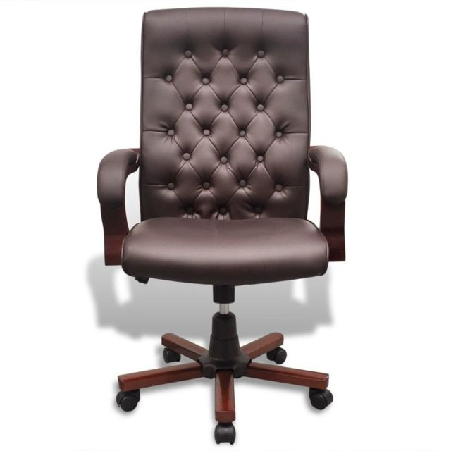 Icaverne - Sièges de bureau selection Fauteuil de bureau chesterfield en cuir artificiel marron