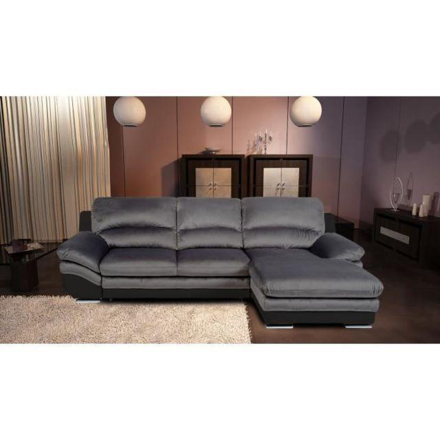 CANAPE - SOFA - DIVAN PIXEL Canapé Angle Convertible - Simili et tissu noir et anthracite - L 265 x P 170 x H 86 cm