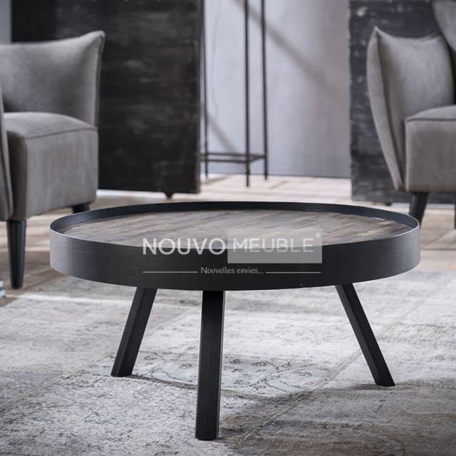 Nouvomeuble Table basse ronde en teck Louisiane