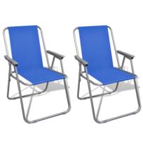 Vidaxl - Lot de 2 Chaises Pliantes Bleues Camping Plein Air