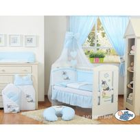 Autre - Lit et parure de lit bébé âne bleu ciel de lit mousseline avec top coton 140 70