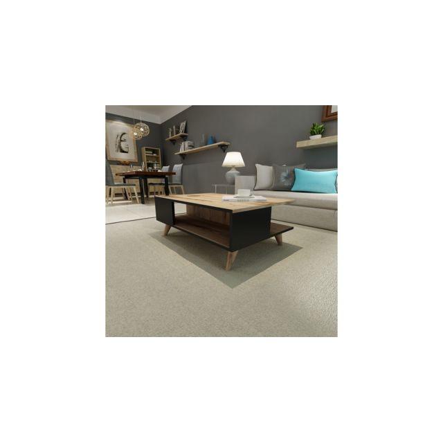 Homemania Table Basse Lyon Porte-Revues, Livres - avec Étagères - pour Salon - Noyer, Noir en Bois, 90 x 60 x 38,6 cm