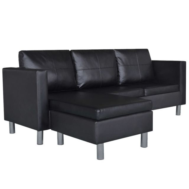 ICAVERNE Canapés serie Canapé sectionnel à 3 places Cuir synthétique Noir