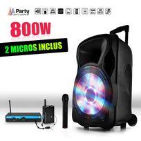 "Party Sound - Enceinte sono mobile 800W 15"" Led/USB/BT/SD/FM + Micros sans-fil/serre-tête Party15"