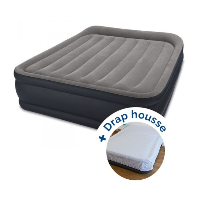 intex pack matelas electrique gonflable rest bed deluxe fiber tech 203 x 152 x 42 cm drap. Black Bedroom Furniture Sets. Home Design Ideas