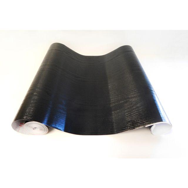 Adzif Biz Rouleau adhesif Aspect Bois Noir 13 m x 67 cm, Papier peint autocollant
