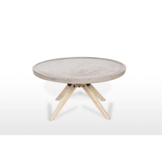 Meubletmoi Table basse en béton et bois décor chêne style industriel - Grey