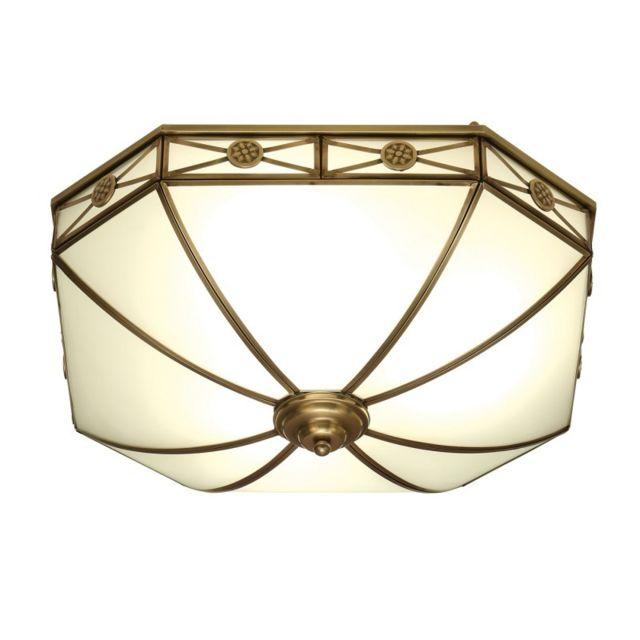 Interiors 1900 Plafonnier Bannerman, laiton antique et verre givré, 4 ampoules