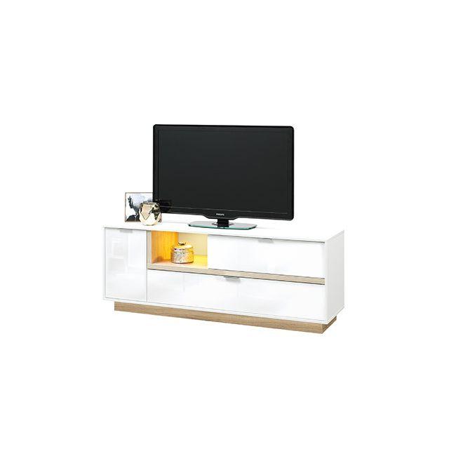 Meuble Tv 157x59x43cm blanc brillant et bois naturel