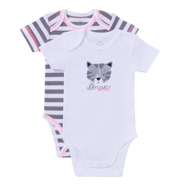 7618fd6903c33 TEX BABY - Lot de 2 bodies bébé CAT en coton manches courtes gris ...
