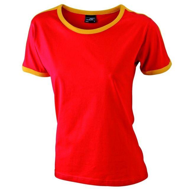 edf535fb717a James   Nicholson - T-shirt bicolore pour femme Jn018 - rouge et jaune d