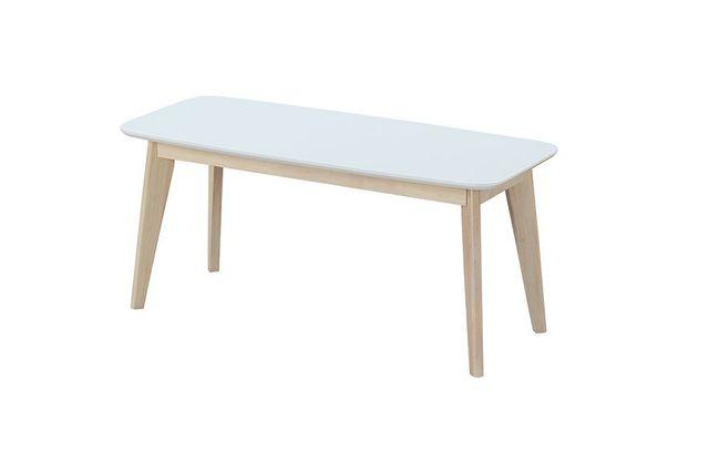 Miliboo - Banc design 100cm blanc et bois Leena