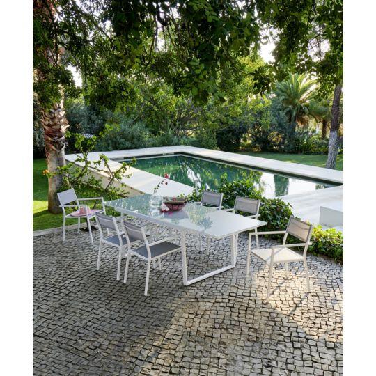 Salon de jardin Sofia - Table avec allonge et 6 fauteuils. à ...
