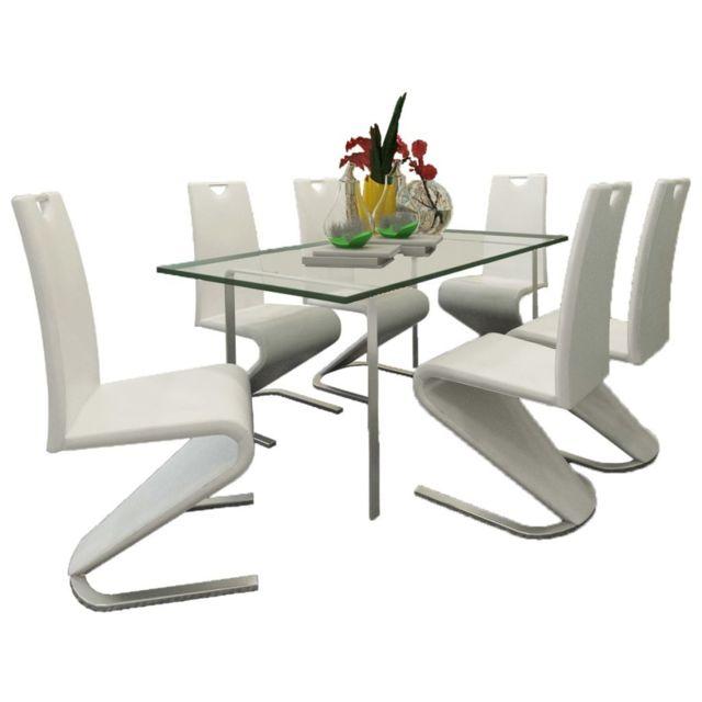 Sans Marque Chaise en simili cuir Cantilever avec pieds en forme de U Blanc 6 pcs
