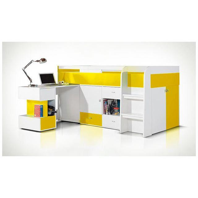 House And Garden Combiné lit enfant jaune avec bureau Yello