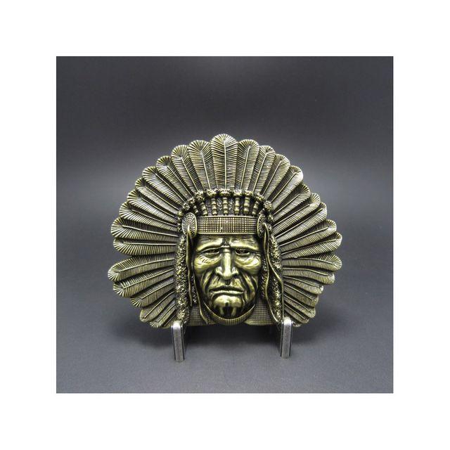 edb705c3b44 Universel - boucle de ceinture tete d  indien de face doré country mixte